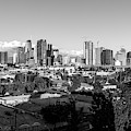 Los Angeles Skyline Looking East 2.9.19 - Black And White by Gene Parks