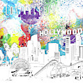 Los Angeles Skyline Panorama Watercolor by Bekim Art