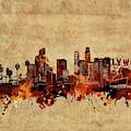 Los Angeles Skyline Vintage by Bekim Art