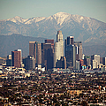 Los Angeles Skyline With Snow Capped by Sterling Davis Photo