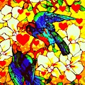 Love Birds In The Love Tree With Hibiscus by Peter Ogden Gallery