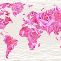 Love Pink Rose Watercolor World Map by Irina Sztukowski
