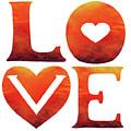 Love Sign Hot Watercolor Silhouette Letters Hearts  by Irina Sztukowski