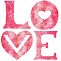Love Sign Pink Watercolor Silhouette Letters Hearts  by Irina Sztukowski