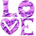 Love Sign Watercolor Silhouette Purple Letters And Hearts I by Irina Sztukowski