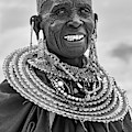 Maasai Woman In Black And White by Kay Brewer