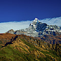 Machapuchare Mountain Fishtail In Himalayas Range Nepal by Raimond Klavins