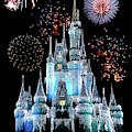 Magic Kingdom Castle In Frosty Light Blue With Fireworks 06 by Thomas Woolworth