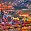 Majestic Nashville Tennessee Music City Broadway Street Downtown Cityscape Art by Reid Callaway