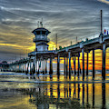 Majestic Reflections Huntington Beach Pier Sunset Los Angeles Collection Art by Reid Callaway