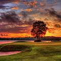 Majestic Sunset Golf The Landing Reynolds Plantation Lake Oconee Georgia Golf Art by Reid Callaway