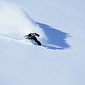 Male Off-piste Snowboarder On Fresh by Ross Woodhall