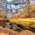 Malham Cove And Stream by Nigel Dudson