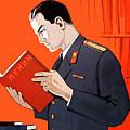 Man Is Reading Lenin Books by Long Shot