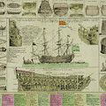 Man Of War Ship Diagram - German - 18th Century by Daniel Hagerman