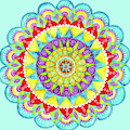 Mandala Of Many Colors On Turquoise by Shelley Wallace Ylst