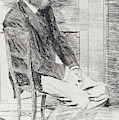 Manet Seated, Turned To The Right by Edgar Degas