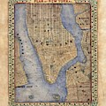 Manhattan New York Antique Map Brooklyn Hand Painted by Lisa Middleton