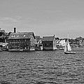 Manufactory Building Rockport Ma Gloucester Harbor Sailboat Black And White by Toby McGuire