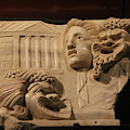 Marble Relief Of Character Theater Masks At Pompeii Exhibit by Colleen Cornelius