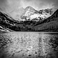 Maroon Bells Black And White 1x1 - Elk Mountain Colorado Landscape by Gregory Ballos