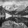 Maroon Bells Mountain Art - Aspen Colorado Bw Landscape by Gregory Ballos
