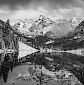 Maroon Bells Mountain Art - Aspen Colorado Monochrome Landscape by Gregory Ballos