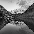Maroon Bells Mountain Peak Landscape - Black And White Monochrome by Gregory Ballos