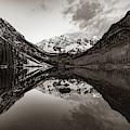 Maroon Bells Mountain Peak Landscape - Sepia Edition by Gregory Ballos