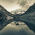 Maroon Bells Mountain Peak Landscape - Sepia Monochrome by Gregory Ballos