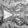 Maroon Bells Peak To Peak Monochrome - Aspen Colorado by Gregory Ballos