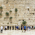Men Visit And Pray In The Men's Section At The Western Wall In T by William Kuta
