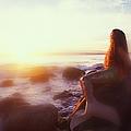 Mermaid Sitting On Rock Looking At by Stanley Brown