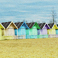 Mersea Island Beach Hut Oil Painting Look 3 by Jonny Essex