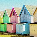 Mersea Island Beach Hut Oil Painting Look 7 by Jonny Essex