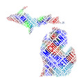 Michigan State Word Art Map Of Cities by Peggy Collins