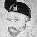 Mickey Van Gogh B W by Rob Hans