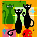 Mid Century Modern Abstract Mcm Bowling Alley Cats 20190113 Square by Wingsdomain Art and Photography