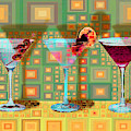 Mid Century Modern Abstract Mcm Three Martinis Shaken Not Stirred 20190127 V1a by Wingsdomain Art and Photography