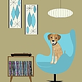 Mid Century Modern Dog With Record Player by Donna Mibus