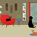 Mid Century Modern Lab In Red by Donna Mibus