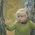 Mila Between Two Birches by Denis Chernov