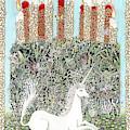 Millefleurs Birthday Cake With Unicorn And Rabbit by Lise Winne