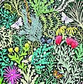 Millefleurs Dark Green Tapestry Design With Four Butterflies by Lise Winne