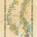 Mississippi River Historic Map Lousiana New Orleans Baton Rouge Map Farming Plantation Hand Painted  by Lisa Middleton