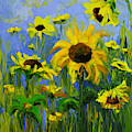 Misty Morning - Sunflower Field Oil Painting, Landscape Art by Patricia Awapara