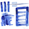 Modern Asian Inspired Abstract Blue And White 2 by Audrey Jeanne Roberts