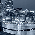 Monochrome Blue Nights Boston Waterfront In Red White And Blue Boston Ma by Toby McGuire