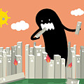 Monster In The City Vectorillustration by Lyeyee