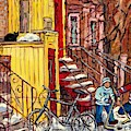 Montreal Staircase Paintings Black Cat Yellow House Red Door Red Steps Hockey Art  C Spandau Quebec by Carole Spandau